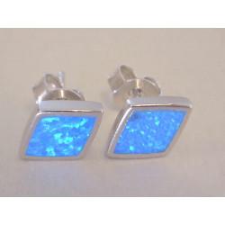 Dámske strieborné naušnice napichovačky zaujímavý tvar modrý opál DAS183 925/1000 1,83 g