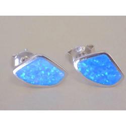 Strieborné dámske naušnice modrý opál napichovačky  DAS176 925/1000 1,76 g