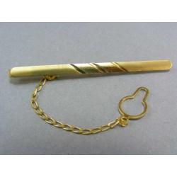 Zlatá kravatová spona žlté zlato s dvoma pruhmi VSP359Z