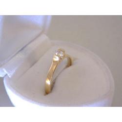 Jednodhuchý dámsky zlatý prsteň žlté zlato zirkón DP50172Z 14 karátov 585/1000 1,72 g