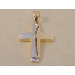 Dámsky zlatý prívesok kríž dvojfarebné zlato zirkón DI145V viacfarebné zlato 14 karátov 585/1000 1,45 g