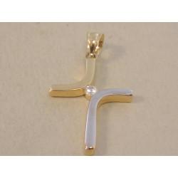 Zlatý dámsky prívesok Kríž zaujímavý tvar viacfarebné zlato, zirkón DI111V 14 karátov 585/1000 1,11 g
