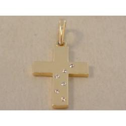 Zlatý prívesok dámsky Kríž žlté zlato, zirkóny DI1Z 14 karátov 585/1000 1,0 g
