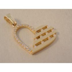 Zlatý dámsky prívesok Srdiečko žlté zlato, zirkóny DI160Z 14 karátov 585/1000 1,60 g