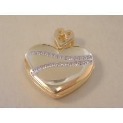 Zlatý dámsky prívesok otváracie Srdiečko viacfarebné zlato, zirkón VI411V 14 karátov 585/1000 4,11g