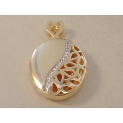 Zlatý prívesok dámsky otvárací Ovál VI466V viacfarebné zlato zirkóny 14 karátov 585/1000 4,66 g