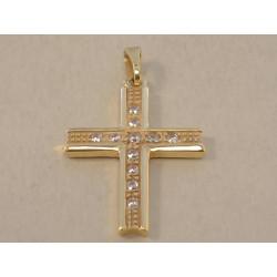 Zlatý prívesok Kríž dámsky žlté zlato kamienky zirkónu VI202Z 14 karátov 585/1000 2,02 g