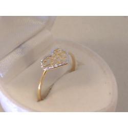 Zlatý dámsky prsteň so Srdiečkom viacfarebné zlato VP58098V 14 karátov 585/1000 0,98 g