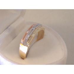 Zaujímavý dámsky trojfarebný prsteň zirkóny VP62235V viacfarebné zlato 14 karátov 585/1000 2,35 g