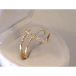 Zaujímavý dámsky zlatý prsteň srdiečko,krížik VP56209V viacfarebné zlato 14 karátov 585/1000 2,09 g