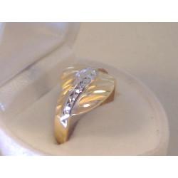 Krásny dámsky zlatý prsteň vzorovaný VP57198V viacfarebné zlato 14 karátov 585/1000 1,98 g