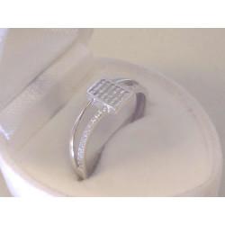 Zaujímavý dámsky zlatý prsteň biele zlato kamienky zirkónu VP160B 14 karátov 585/1000 1,60 g