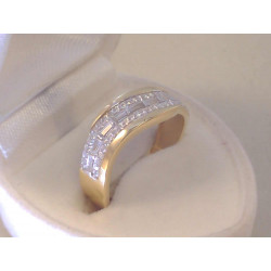 Výrazný dámsky zlatý prsteň žlté zlato,číre zirkóny VP58266 14 karátov 585/1000 2,66 g
