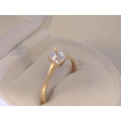 Jednoduchý dámsky zlatý prsteň žlté zlato ,zirkón v korunke VP51140Z 14 karátov 585/1000 1,40 g