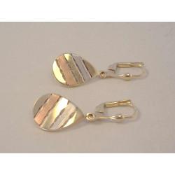 Zlaté dámske visiace naušnice vzorované VA214V viacfarebné  zlato 14 karátov 585/1000 2,14 g