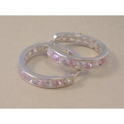 Dámske zlaté naušnice kruhy ružové zirkóny VA211B 14 karátov 585/1000 2,11 g
