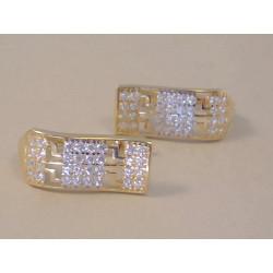 Zlaté dámske naušnice zaujímavý tvar žlté zlato zirkóny VA240Z 14 karátov 585/1000 2,40 g