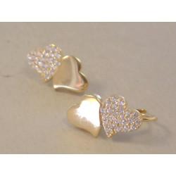 Zlaté dámske naušnice spojené srdiečka žlté zlato,zirkóny VA218Z 14 karátov 585/1000 2,18 g