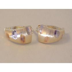 Zlaté naušnice dámske vzorované viacfarebné zlato VA217V 14 karátov 585/1000 2,17 g