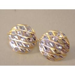 Zlaté dámske naušnice zaujímavý tvar viacfarebné zlato VA191V 14 karátov 585/1000 1,91 g