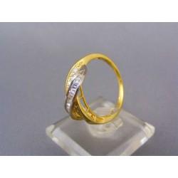 Zlatý prsteň s kamienkami dvojfarebné zlato VP59572V