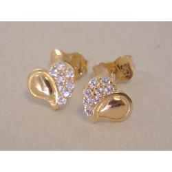 Zlaté dámske napichovacie naušnice Srdiečka zirkóny VA092Z žlté zlato 14 karátov 585/1000 0,92 g