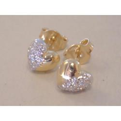 Zlaté dámske napichovacie naušnice tvar srdca, zirkóny VA150Z žlté zlato 14 karátov 585/1000 1,50 g