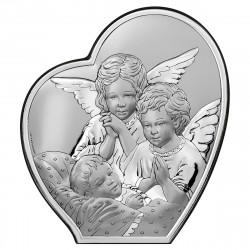 Strieborný obraz Anjelikovia 6592/2X