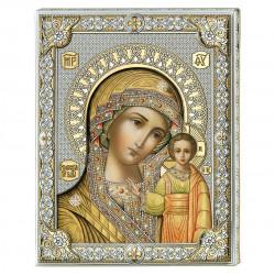 Strieborný pozlátený obraz Matka Božia Strieborný obraz 85302/6L