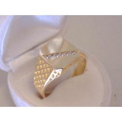 Výrazný pánsky zlatý prsteň žlté zlato kamienky zirkónu VP66563Z 14 karátov 585/1000 5,63 g