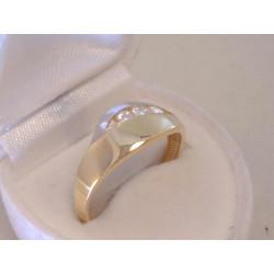Zaujímavý dámsky zlatý prsteň viacfarebné zlato,zirkóny VP61286V 14 karátov 585/1000 2,86 g