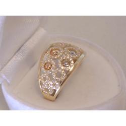 Žiarivý dámsky zlatý prsteň viacfarebné zlato ,zirkóny VP56299V 14 karátov 585/1000 2,99 g