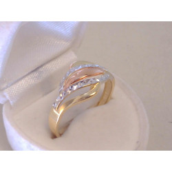 Zlatý dámsky prsteň vzorovaný viacfarebné zlato VP66283V 14 karátov 585/1000 2,83 g