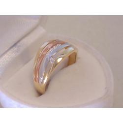 Zlatý dámsky prsteň viacfarebné zlato zirkóny VP55232V 14 karátov 585/1000 2.32 g