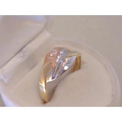 Zlatý dámsky prsteň zaujímavý vzhľad,zirkóny VP59211V 14 karátov viacfarebné zlato 585/1000 2,11 g