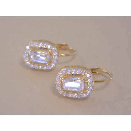 Dámske zlaté naušnicežlté zlato,číre zirkóny VA217Z 14 karátov 585/1000