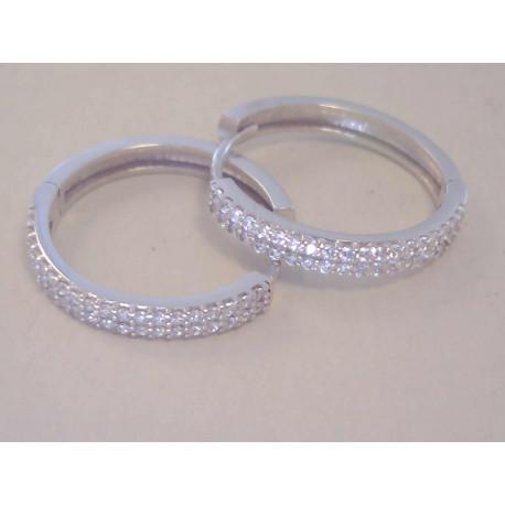 Dámske zlaté naušnice kruhy biele zlato,zirkóny VA257B 14 karátov 585/1000 2,57 g
