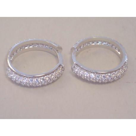 Zlaté naušnice dámske kruhy biele zlato,kamienky zirkóny VA251B 14 karátov 585/1000 2,51 g