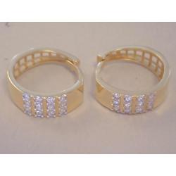 Zlaté dámske naušnice kruhy žlté zlato,kamienky VA272Z 14 karátov 585/1000 2,72 g