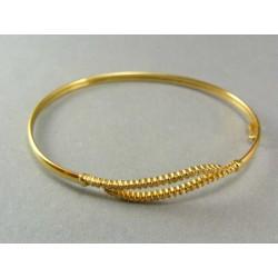 Zlatý náramok s kamienkami vzor zúbky pevný VN497Z