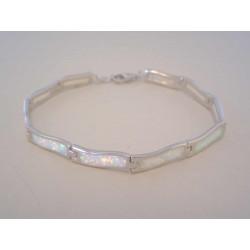 Zaujímavý strieborný dámsky náramok s bielym opálom VNS185805 925/1000 8,05g