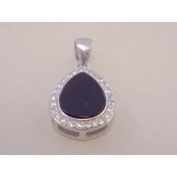 Dámsky strieborný prívesok Slza kameň onyx,zirkóny VIS123 925/1000 1,23 g