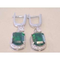 Krásne dámske visiace naušnice zelený zirkón VAS720 925/1000 7,20 g