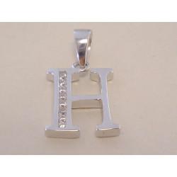 Strieborný dámsky prívesok písmenko H kamienky zirkónu VIS196 925/1000 1,96 g