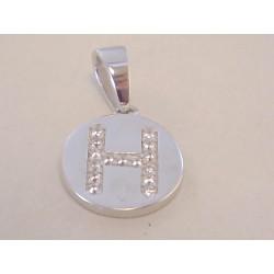 Strieborný prívesok písmeno H , zirkóny VIS141 925/1000 1,41 g