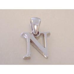 Jednoduchý prívesok písmeno N hladký povrch VIS082 925/1000 0,82 g