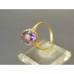 Zlatý prsteň žlté zlato s fialovým zirkónom VP56347Z