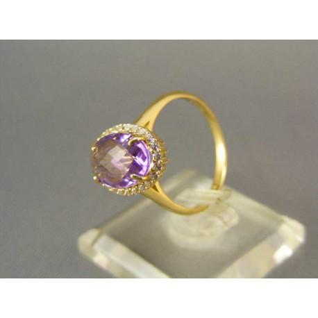 Dámsky prsteň žlté zlato s fialovým firkónom