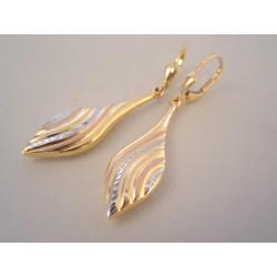 Zlaté dámske visiace naušnice jemný  vzor DA298 V viacfarebné zlato 14 karátov 585/1000 2,98 g