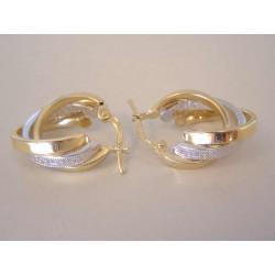 Zlaté dámske trojité naušnice viacfarebné zlato jemný vzor DA282V 14 karátov 585/1000 2,82 g